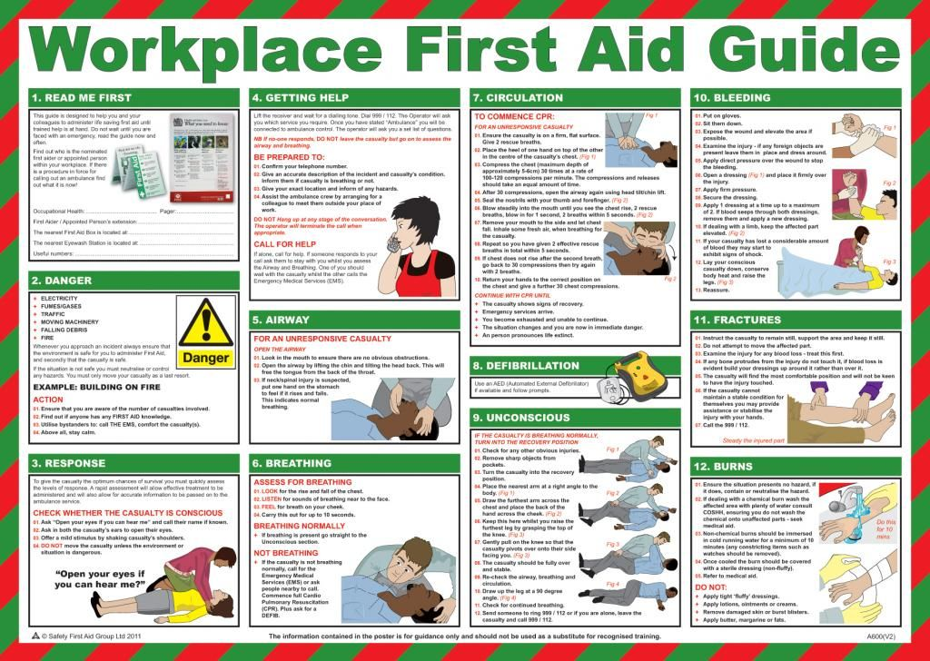 Workplace First Aid Guide Poster English UK Emergencies
