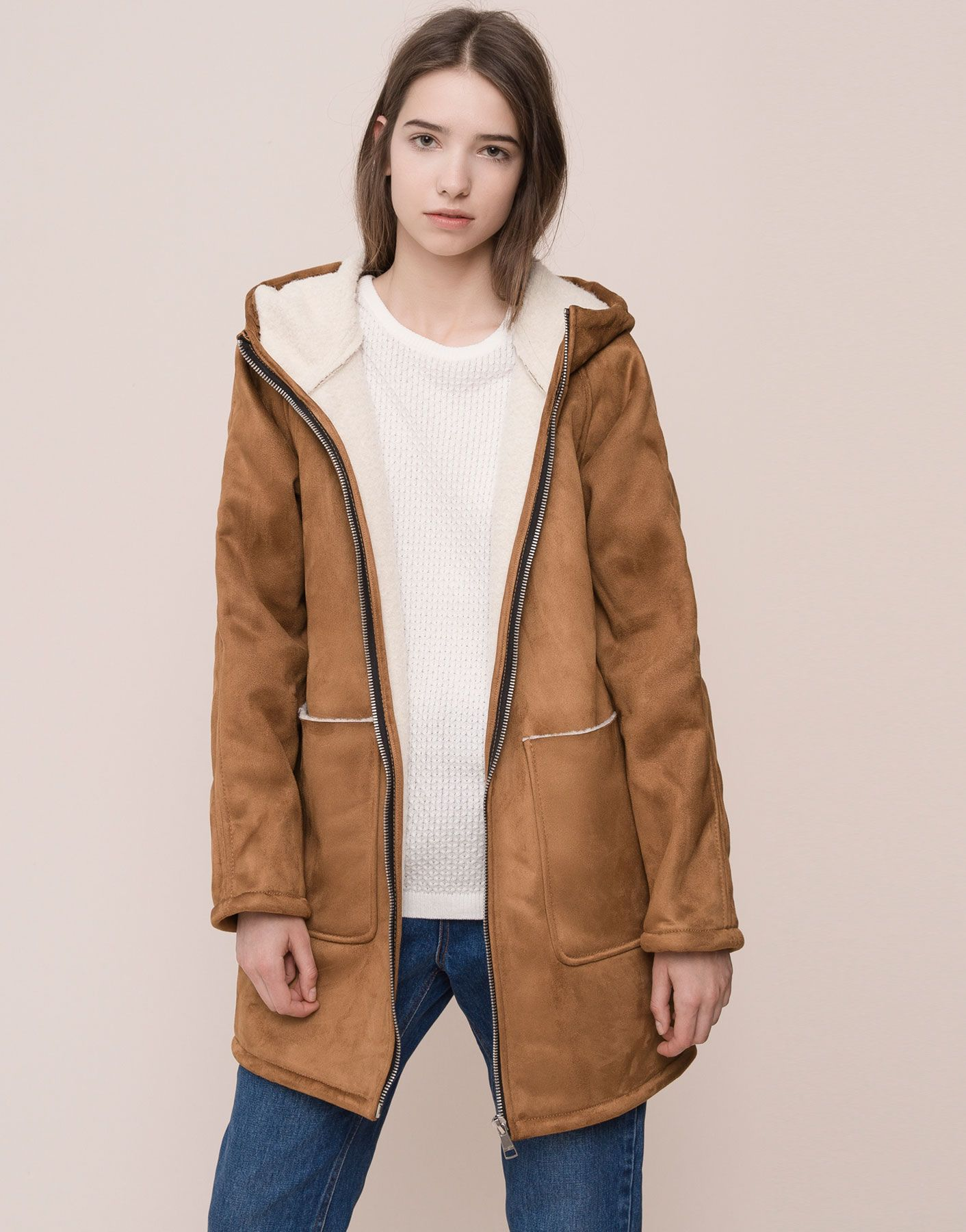 FLEECE LINED COAT WITH HOOD COATS AND PARKAS WOMAN