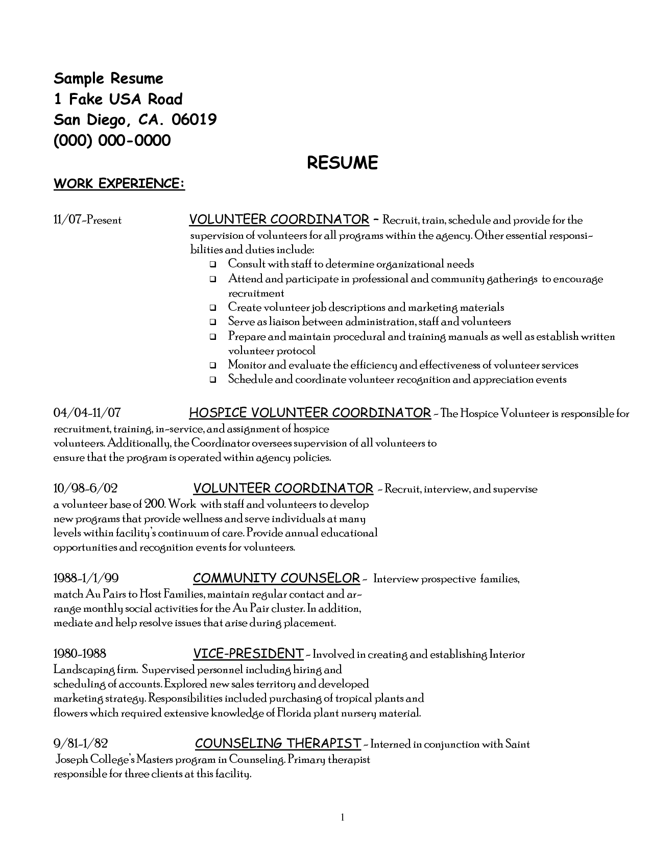 Volunteer Work On Resume Example ImagesVolunteer Resume