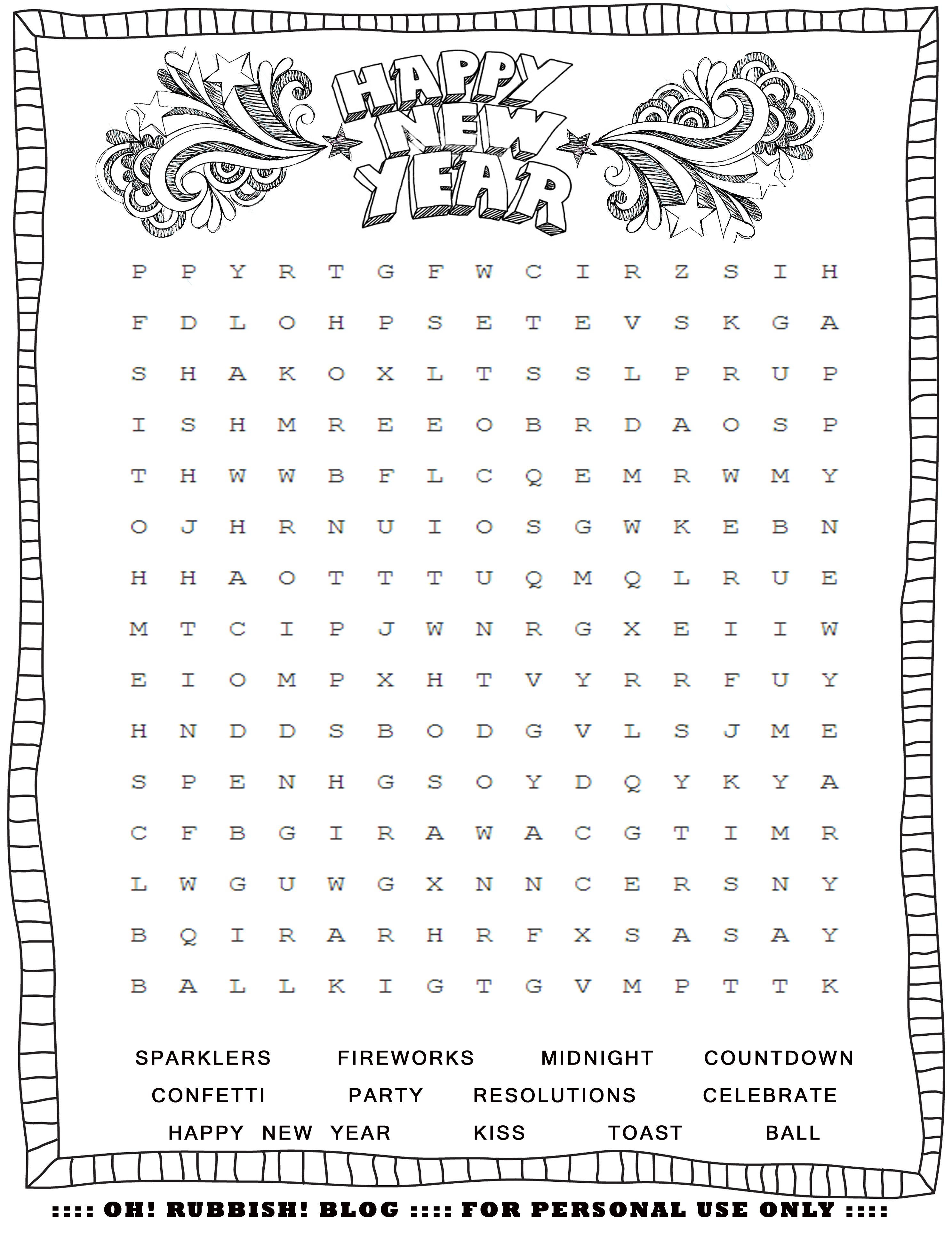 New Year S Printable Activities Entertain Your Kids