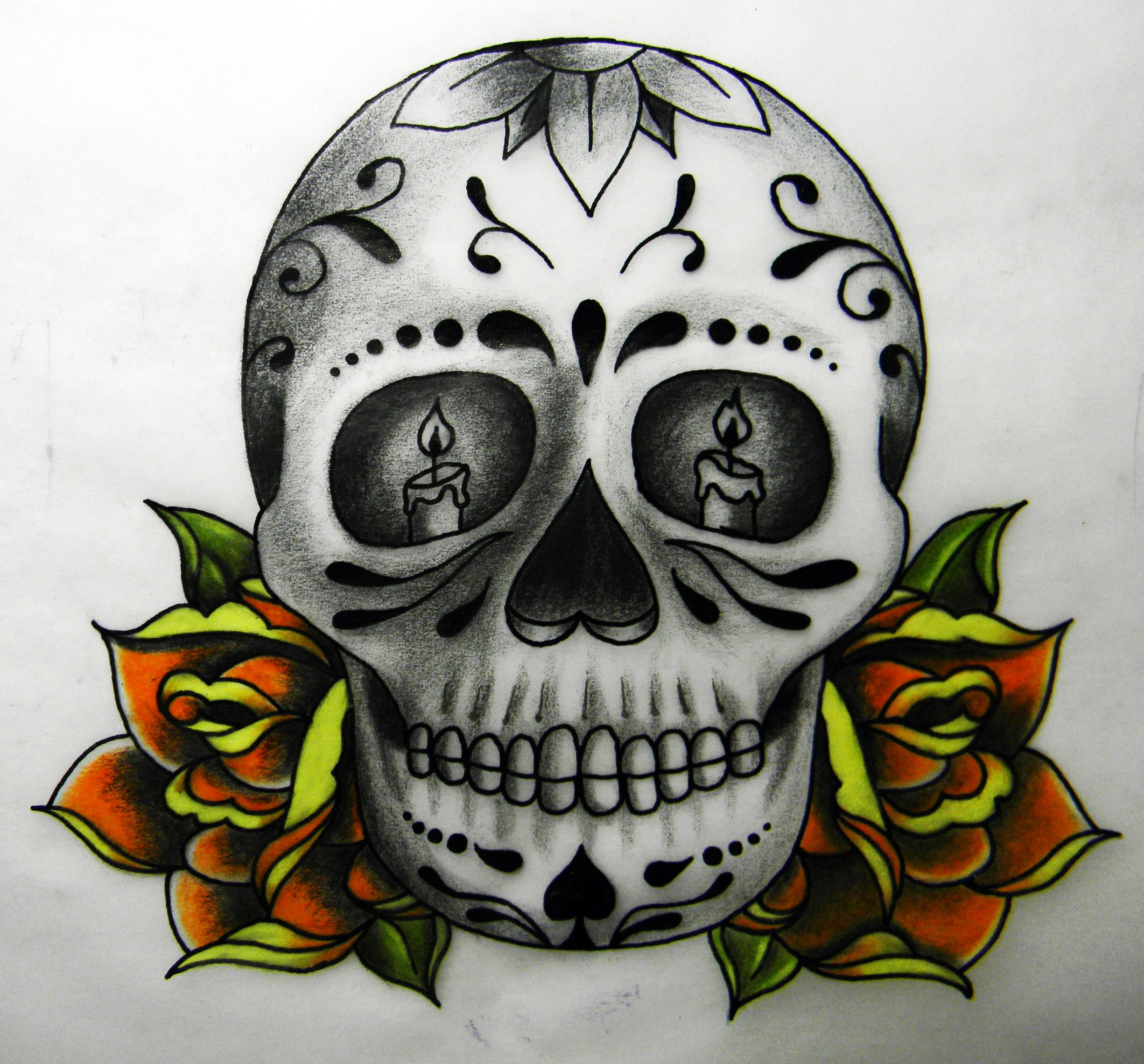 Day of the dead skull and roses Tattoo and Tattoo art