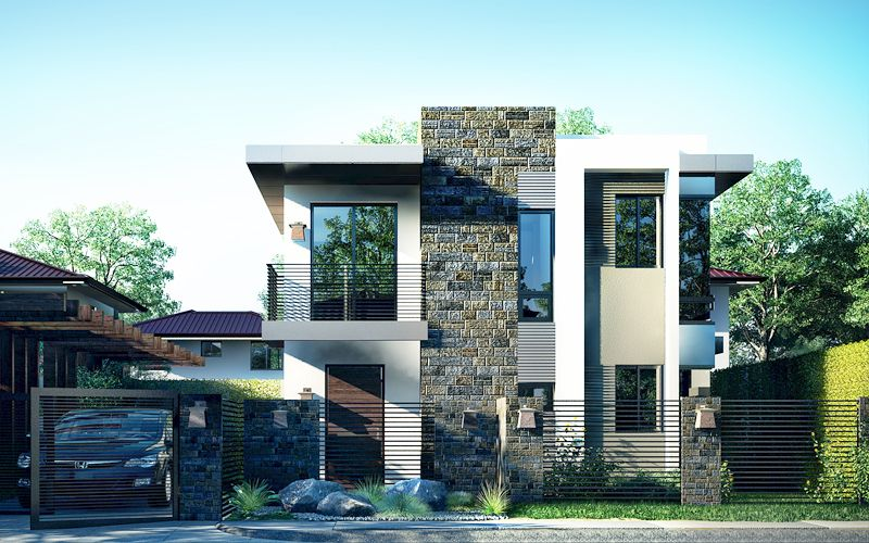 A Picturesque Modern House Design Is Illustrated In Pinoy