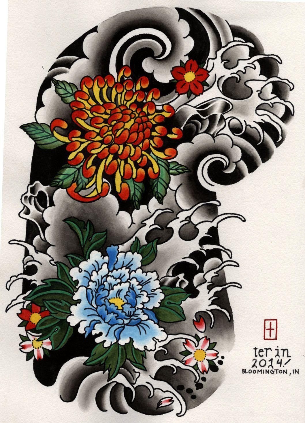 Japanese Floral Half Sleeve Tattoo Design Stuff to Buy