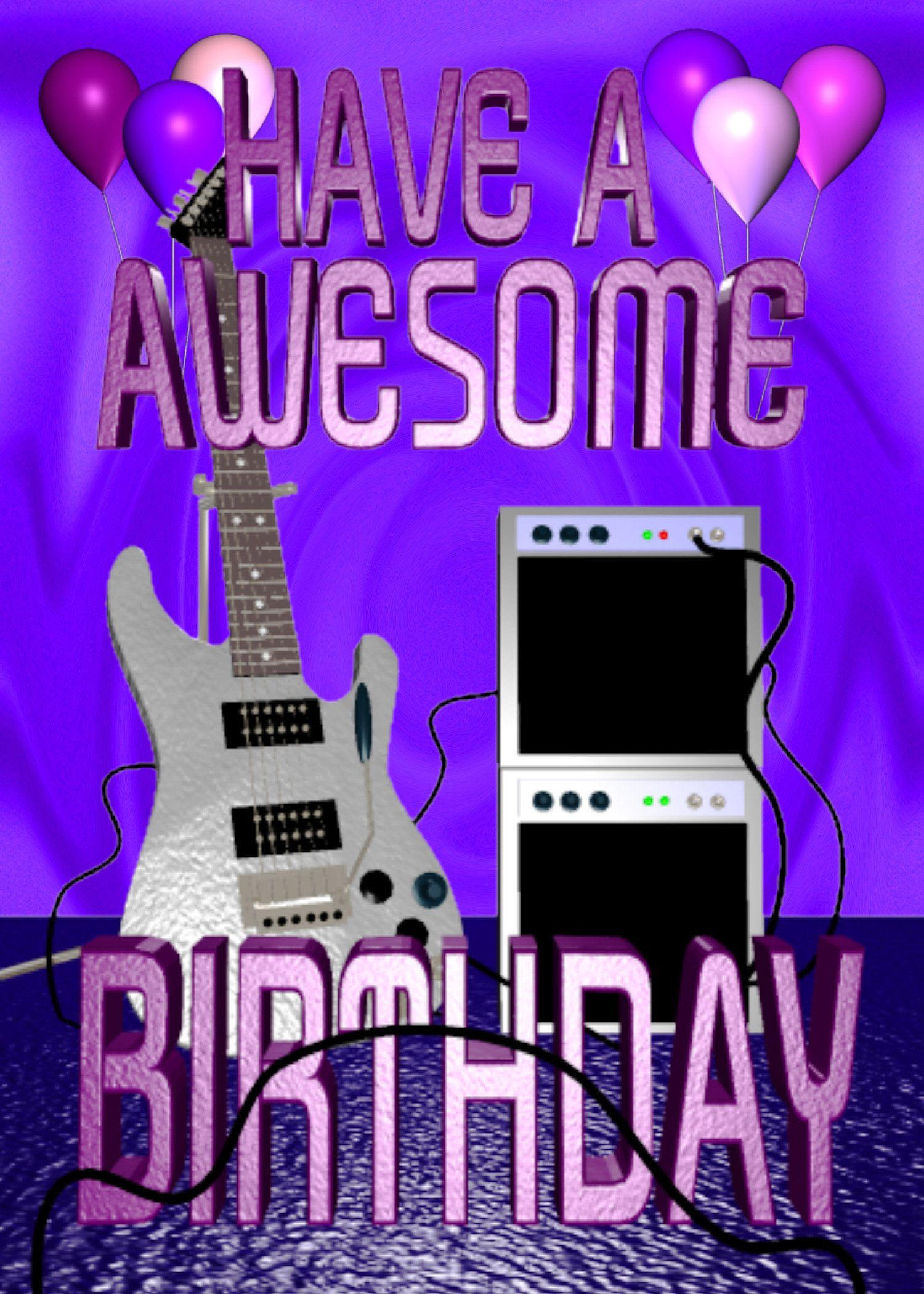 "Have A Awesome Guitar Birthday Greeting 5""x7"" card"