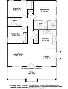 Small House Plans 1200 Square Feet Three Bedrooms 2 Bathrooms