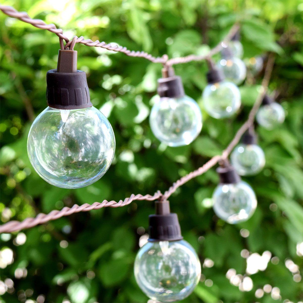 LED Solar Powered G40 String Lights 10 Lights outdoor