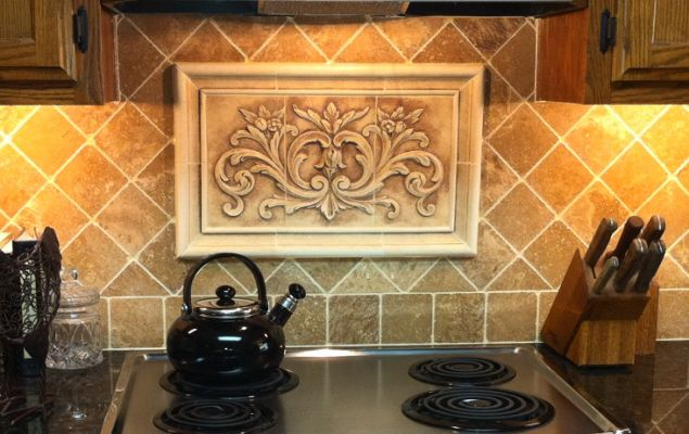 Kitchen Backsplash Insert Using Our Hand Pressed Floral