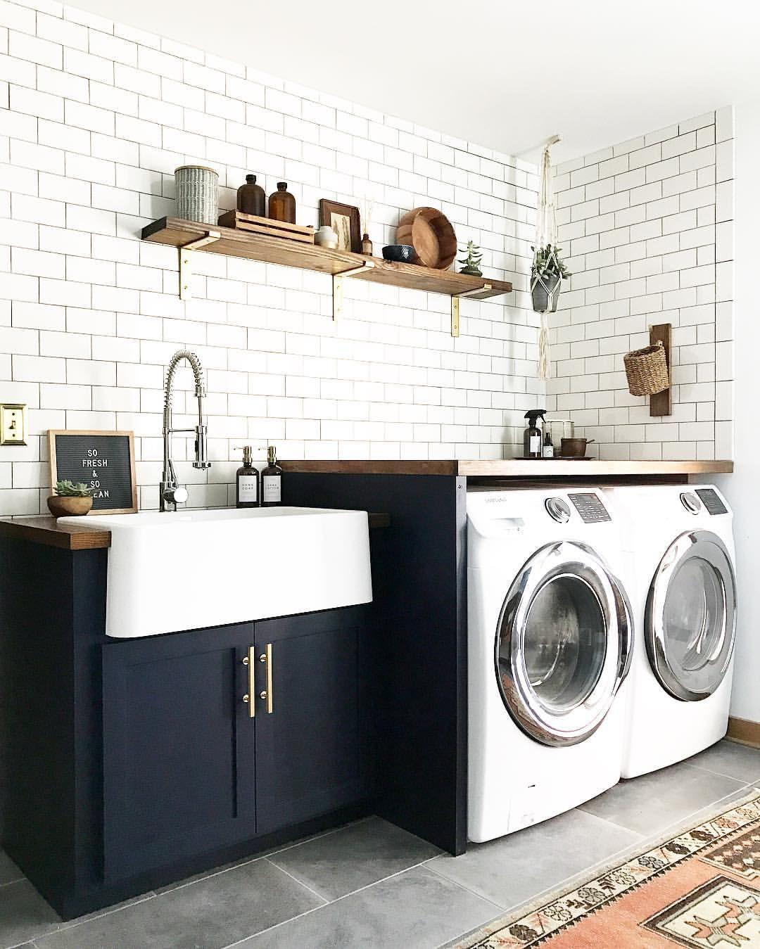 Blue, white, brass, boho laundry room See this Instagram
