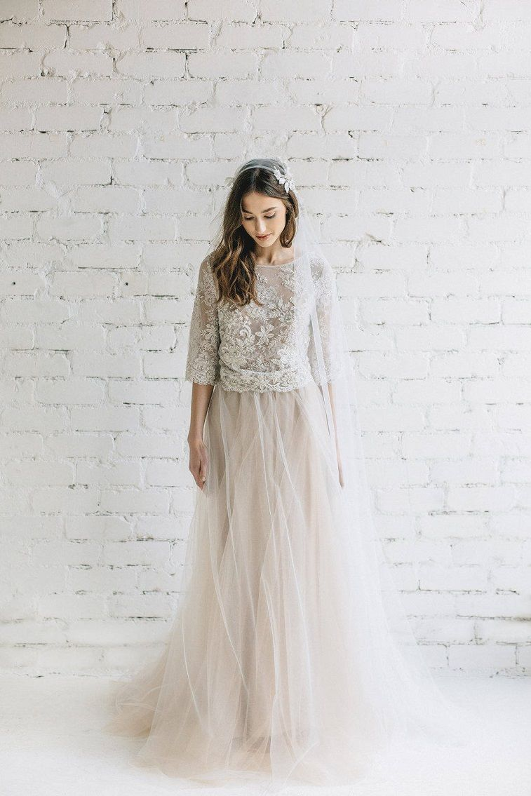 Bohemian Bridal 3/4 length sleeves Lace Crop Top A line Wedding Dress #wedding #weddingdress #weddinggown