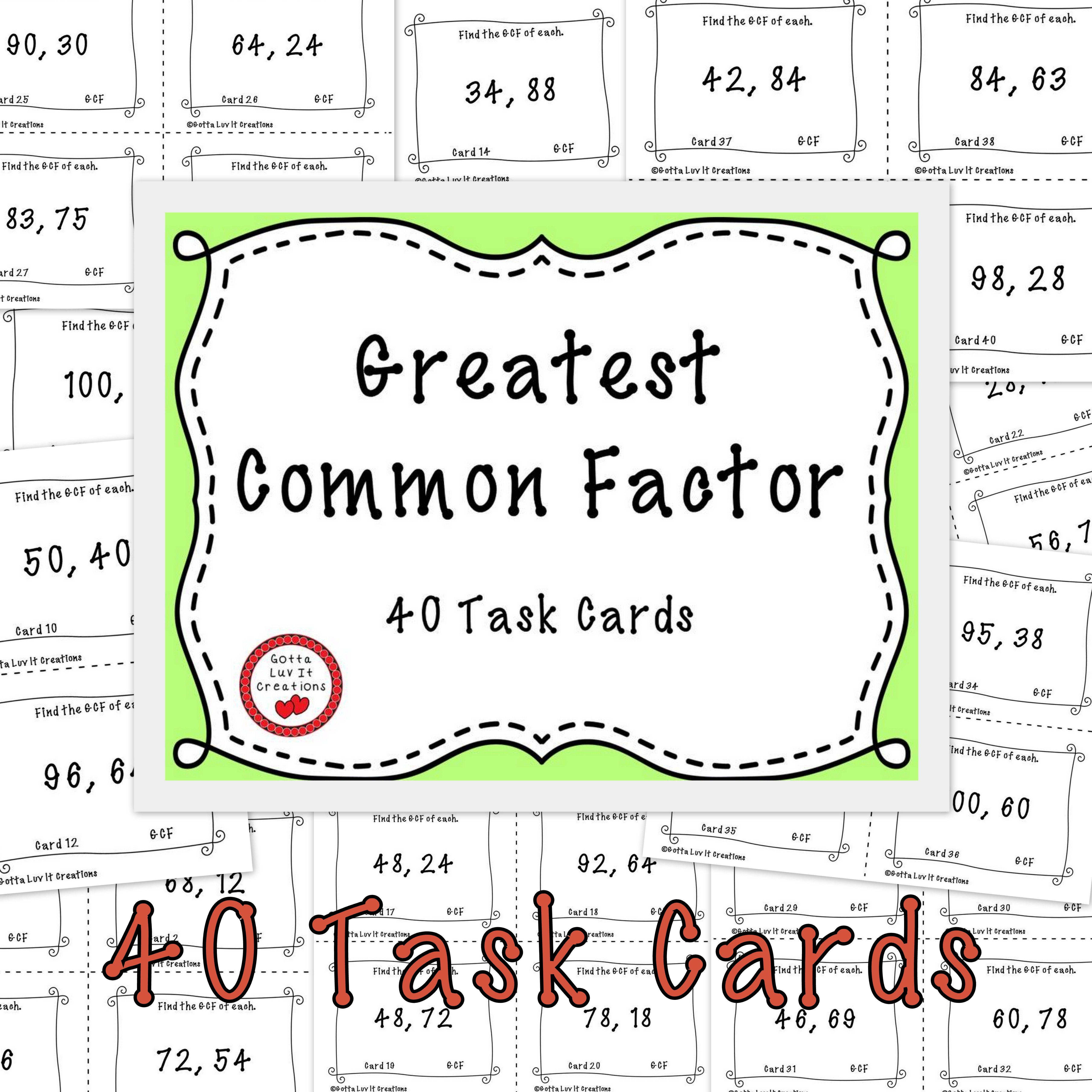 Free 40 Task Cards Greatest Common Factor See Preview