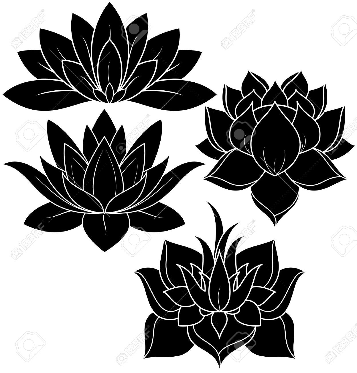 illustration of set lotus silhouette Stock Vector