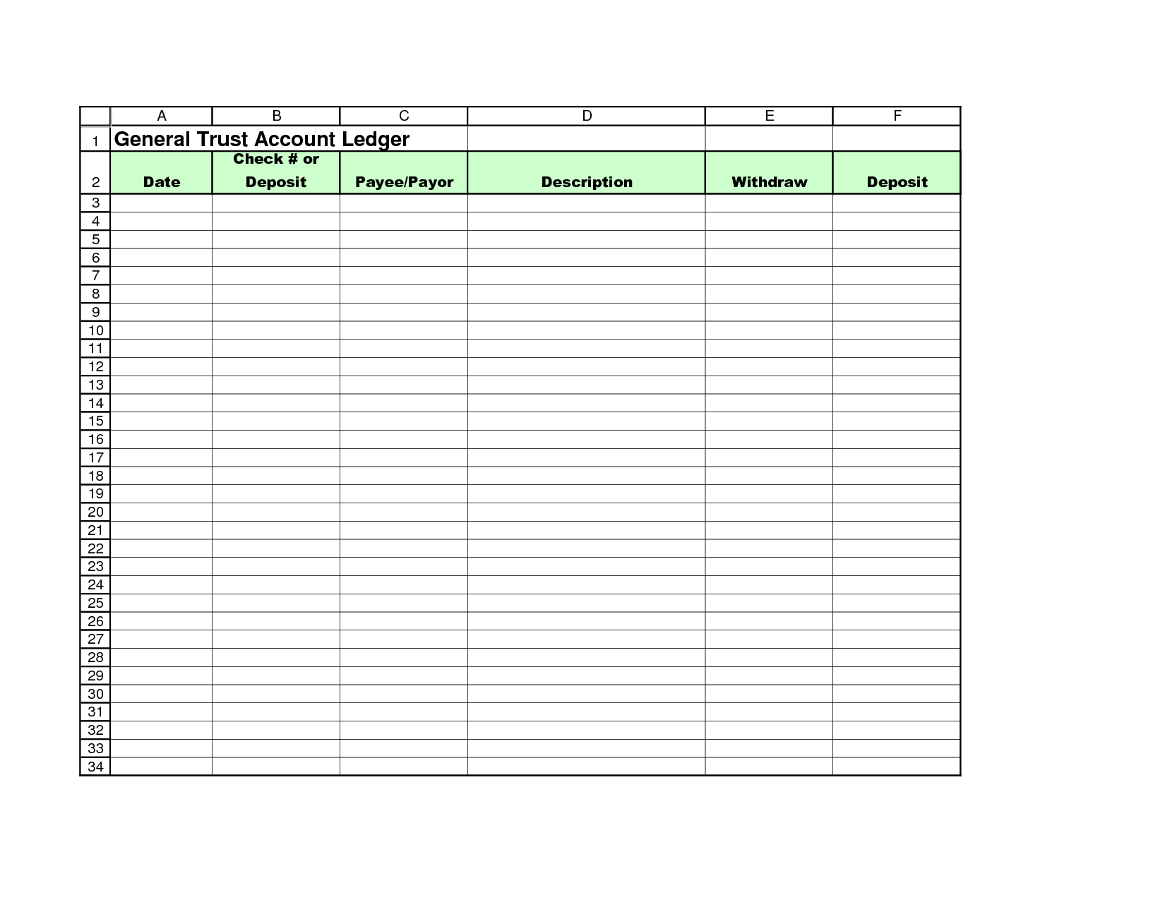 Free Printable Accounting Ledger Template