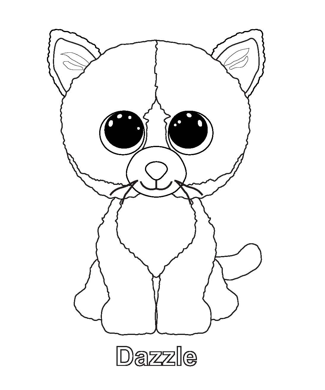 Dazzle Cat Beanie Boo Coloring Page