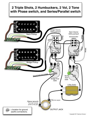 Seymour Duncan wiring diagram  2 Triple Shots, 2