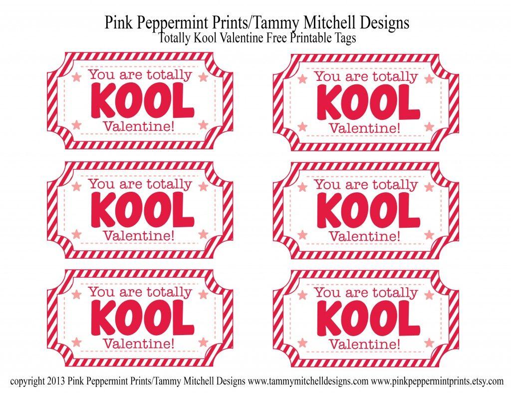 Totally Kool Valentine And Free Printable Valentine Card Tag