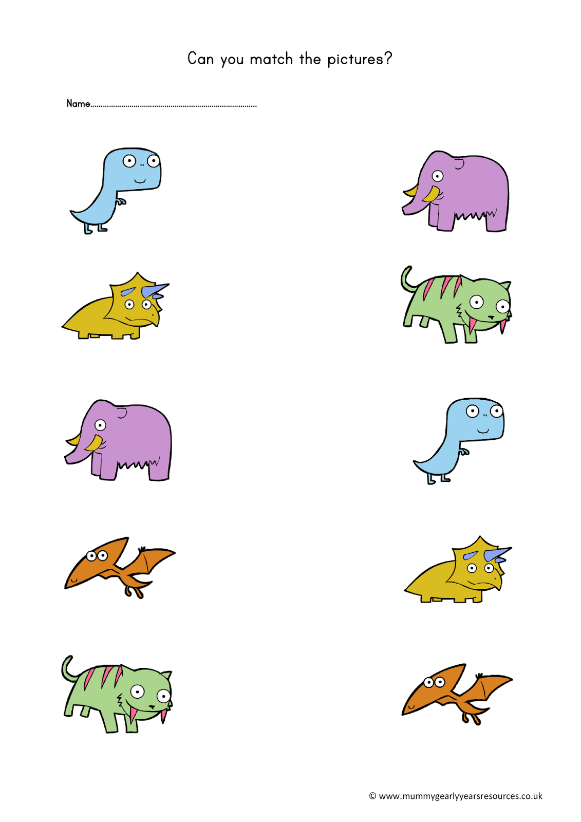 Dinosaur Matching Pictures Worksheet