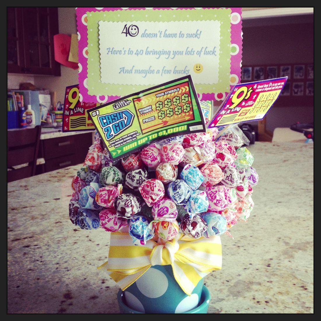 40th birthday gift sucker bouquet with lotto tickets