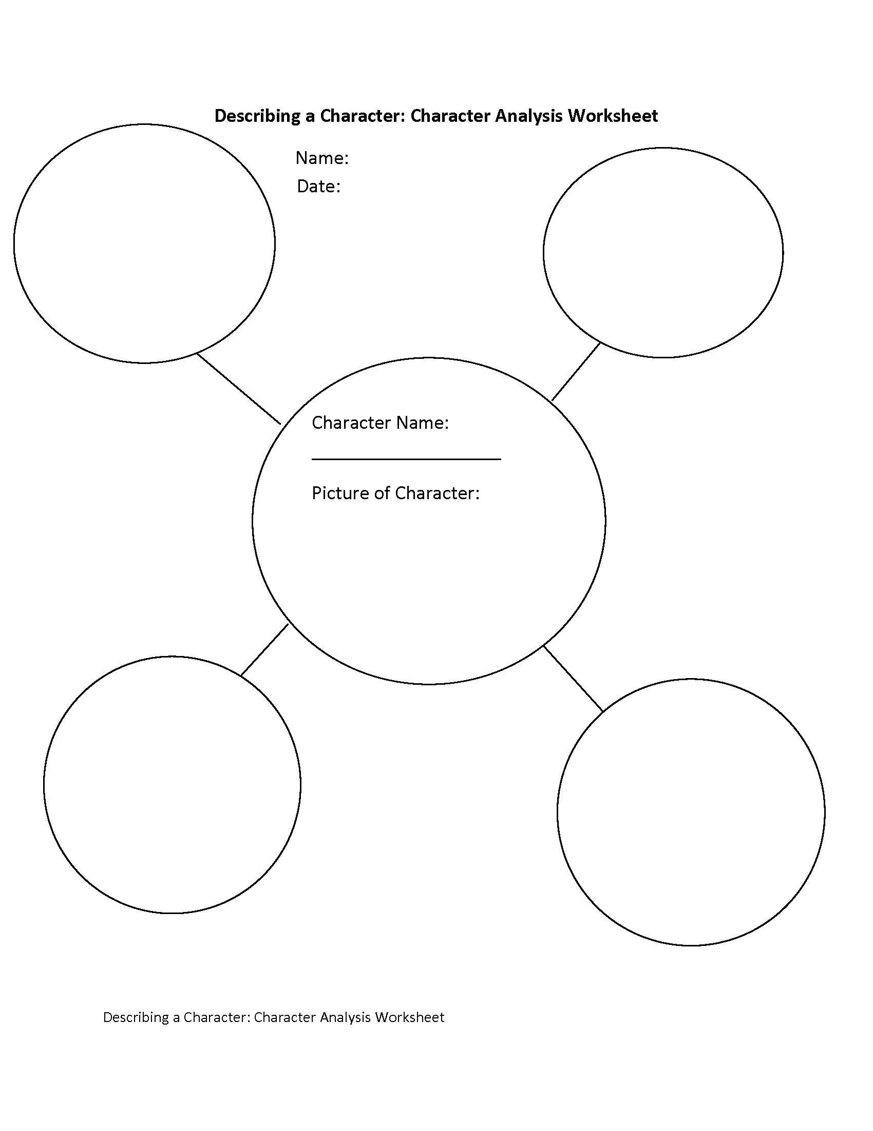 Describing A Character Characterysis Worksheet