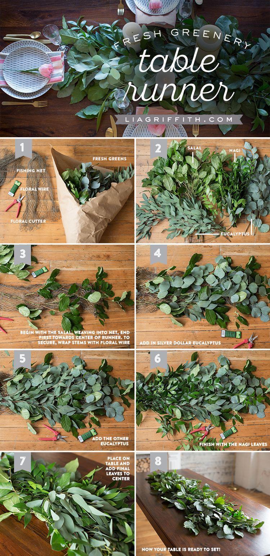 How to Make a Fresh Greenery Table Runner Greenery