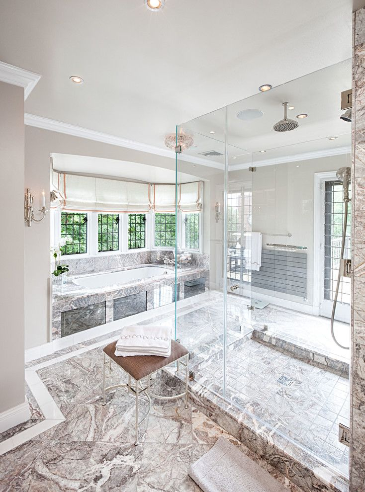 crown molding glass shower. image by: anjali pollack design