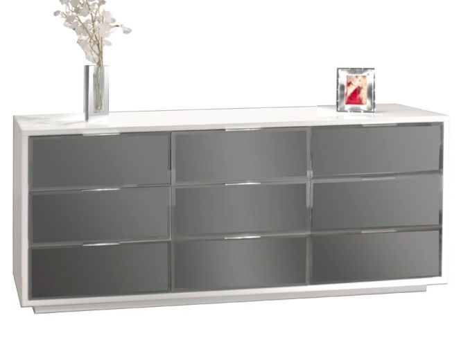 Bedroom Gl Dresser Modern White Glossy Lacquer Cool Grey Drawers Small Orchids