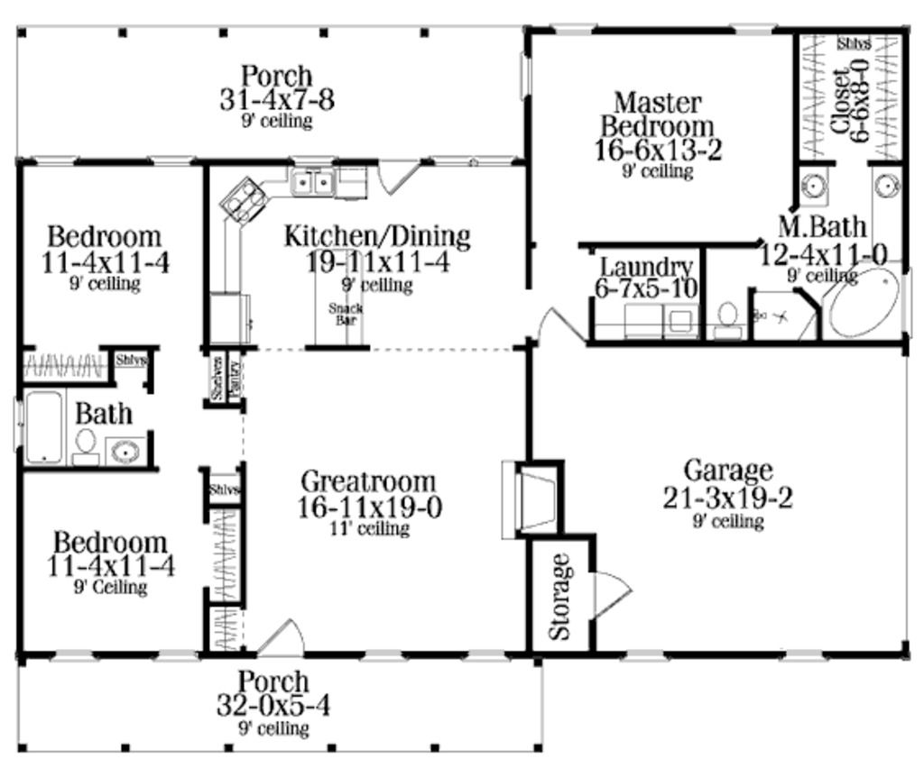 3bedroom 2 Bath Open Floor Plan Under Square Feet Really Like The 2 Bedroom Off The Great