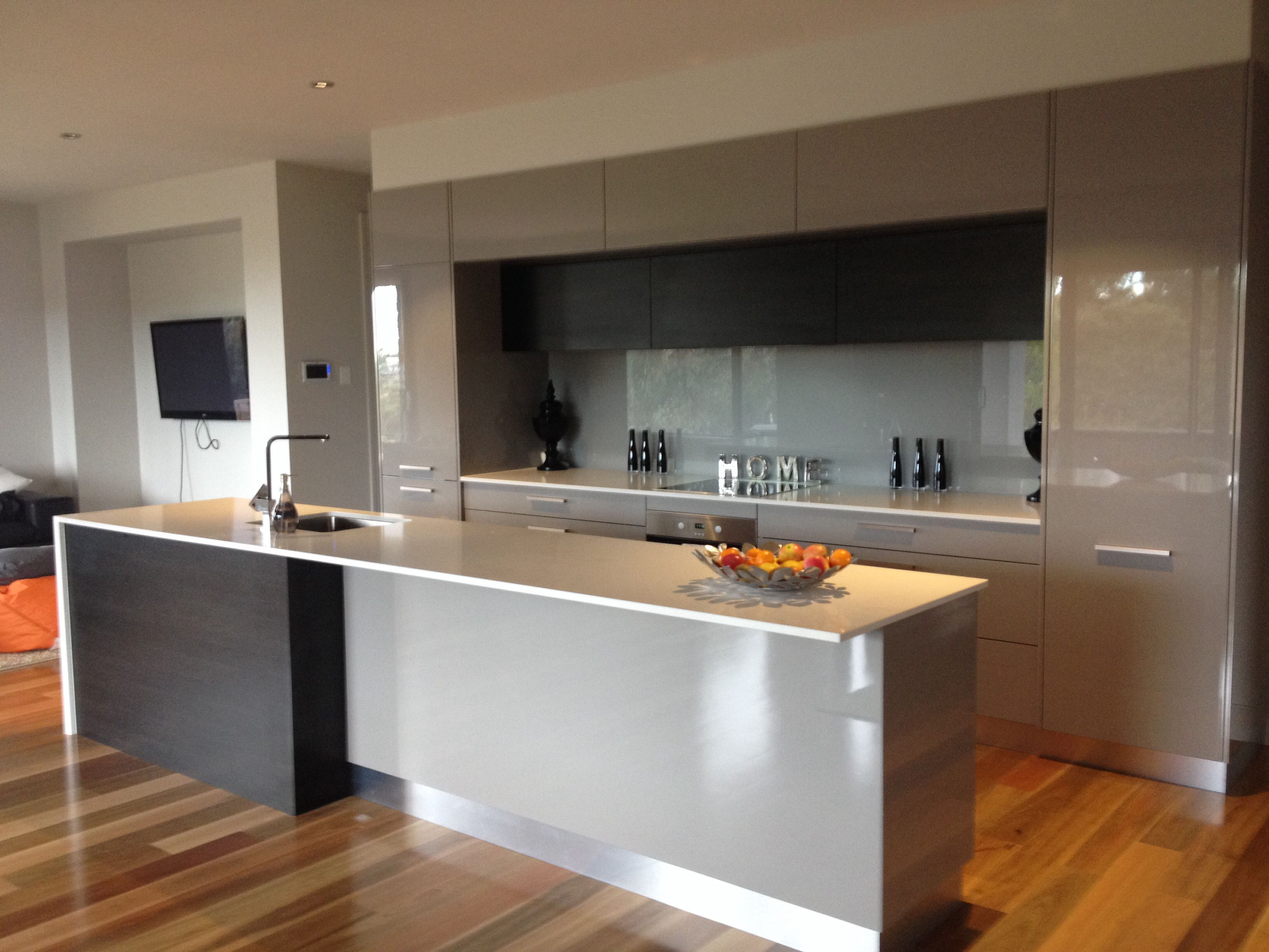 Grey Black Kitchen with Spotted Gum Timber Flooring