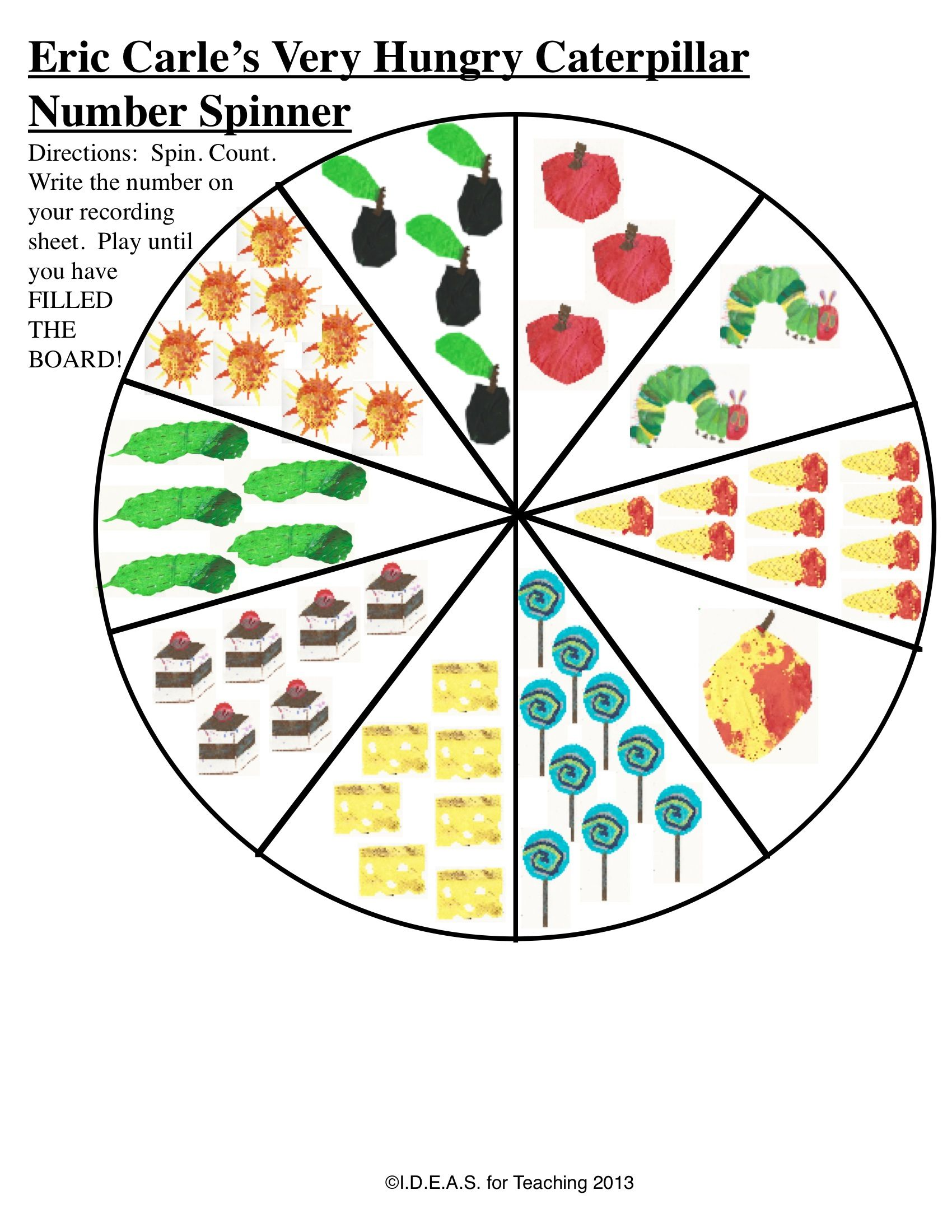 Teacherspayteachers Product Eric Carle Number Race In This Active Game