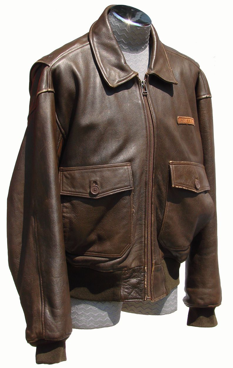 Vintage 1980s Avirex G1 Leather Flight Jacket // Naval