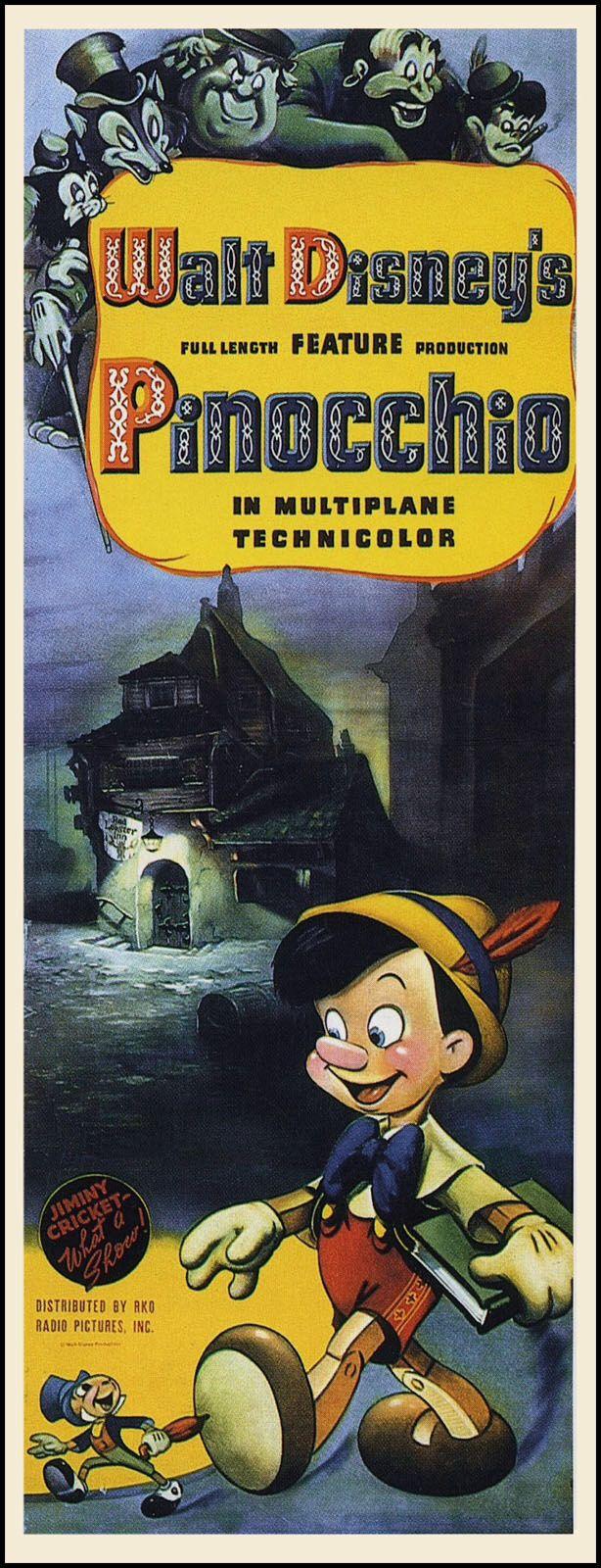 Movie Poster. Walt Disney's Pinocchio (1940) high art
