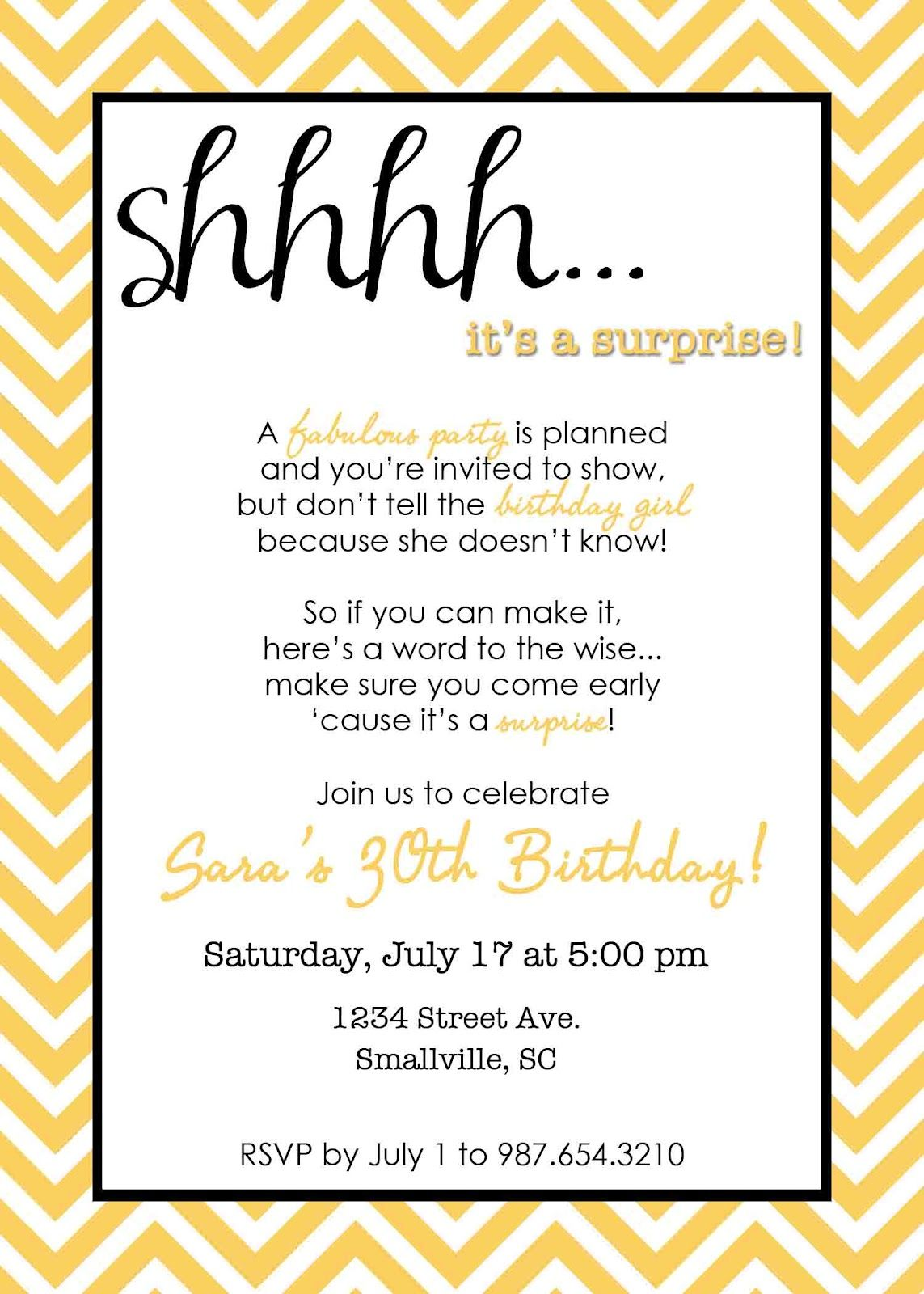 cool Wording for Surprise Birthday Party Invitations Get