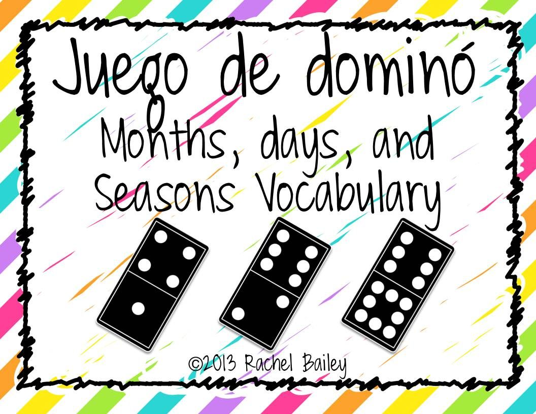 Months Days And Seasons Domino Game Freebie