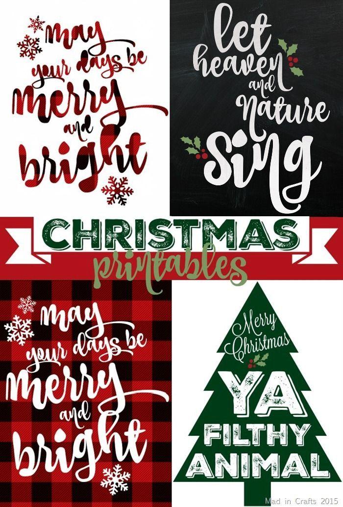 SPARKLY & PLAID CHRISTMAS PRINTABLES Free christmas