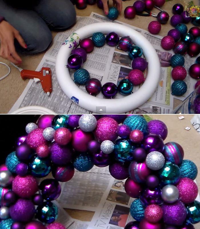 Simple DIY ornament wreath Christmas stuff