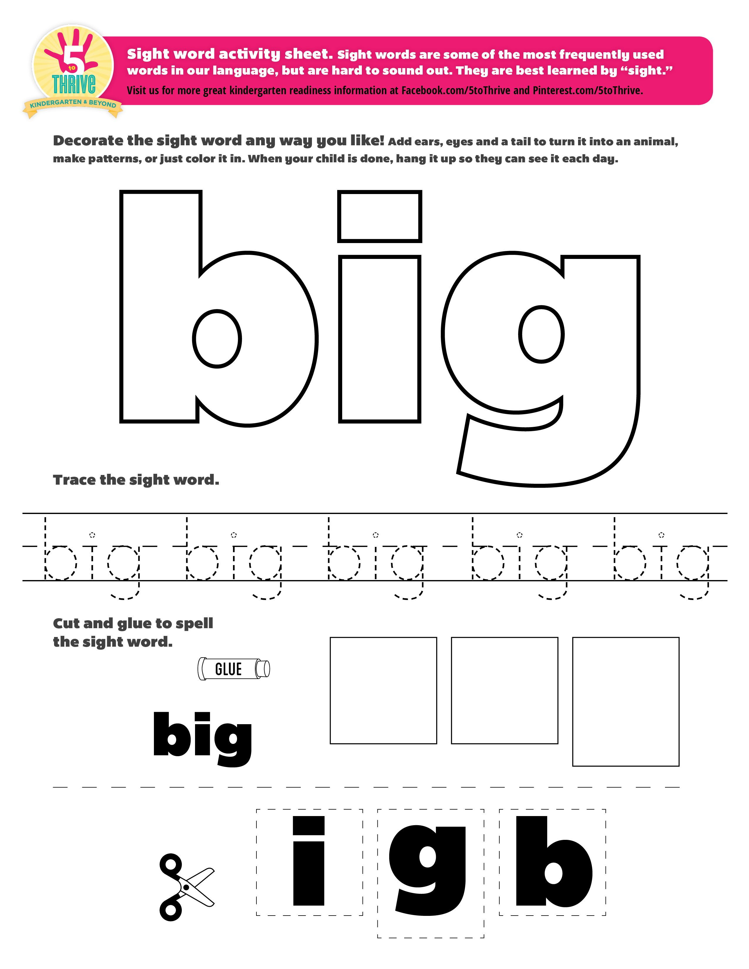 Sight Word Big Sight Words Are Some Of The Most Frequently Used Words In Our Language But