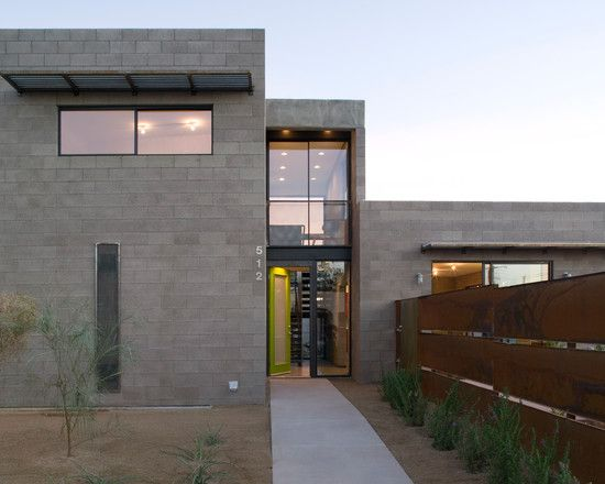 Modern Concrete Block Front Entry Design Ideas