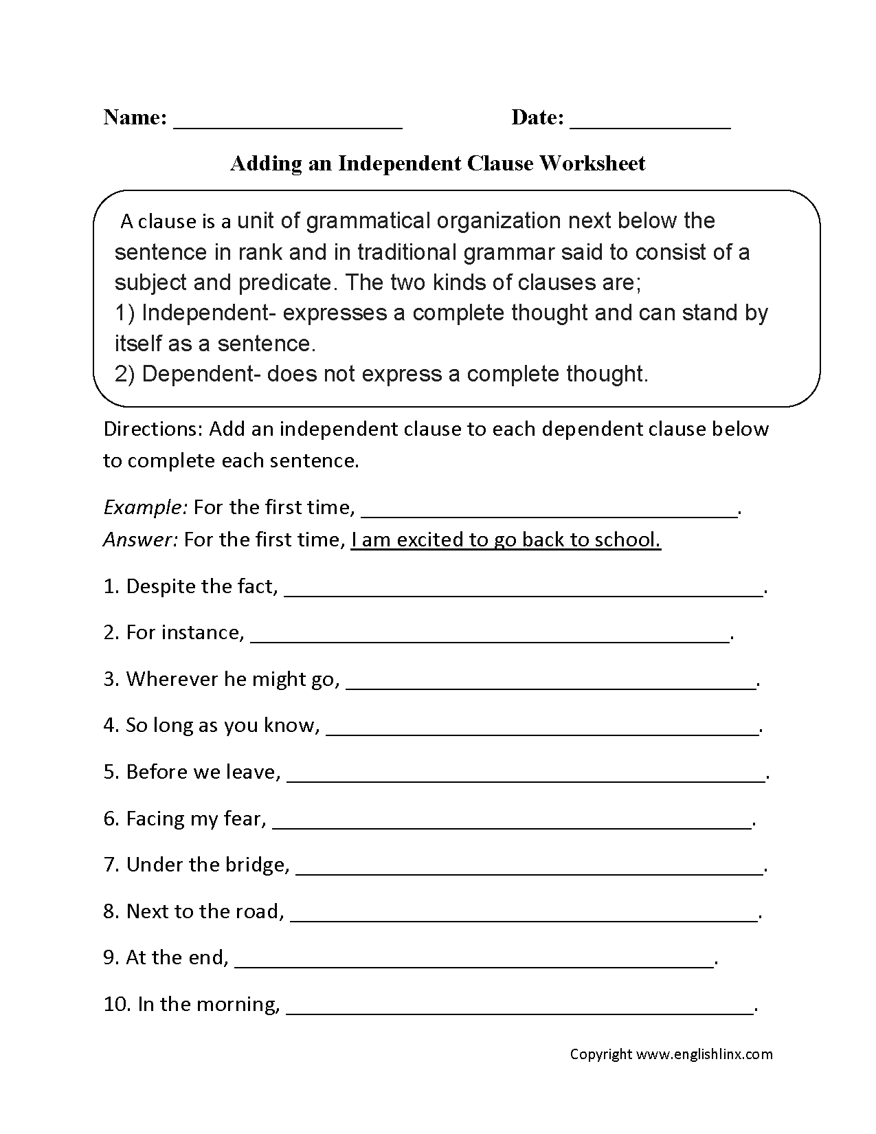 Adding An Independent Clause Worksheet