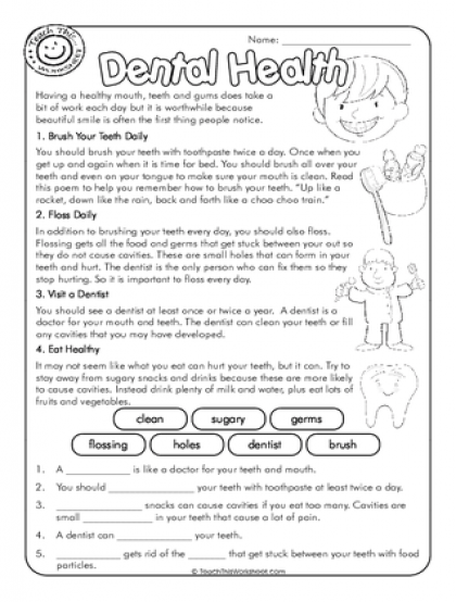 Dental Health Printable Worksheets Dental Health