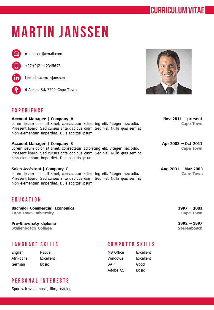 Resume / CV Template in MS Word. 2 color versions in 1