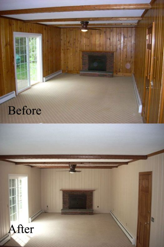 Before And After Old Wall Paneling Primed Painted Spencerpainting Us