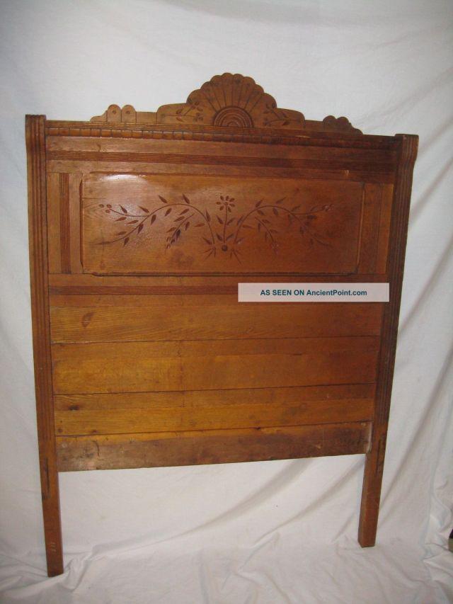 Eastlake style oak bed 1880s antique American furniture