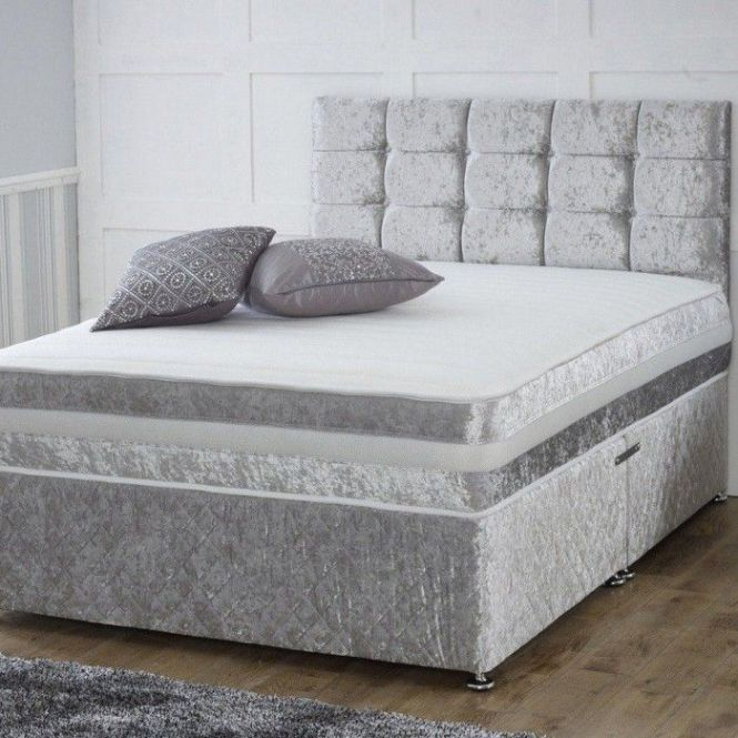 Crushed Velvet Divan Bed With Open Spring Memory Foam Mattress Luxury Fabric Beds