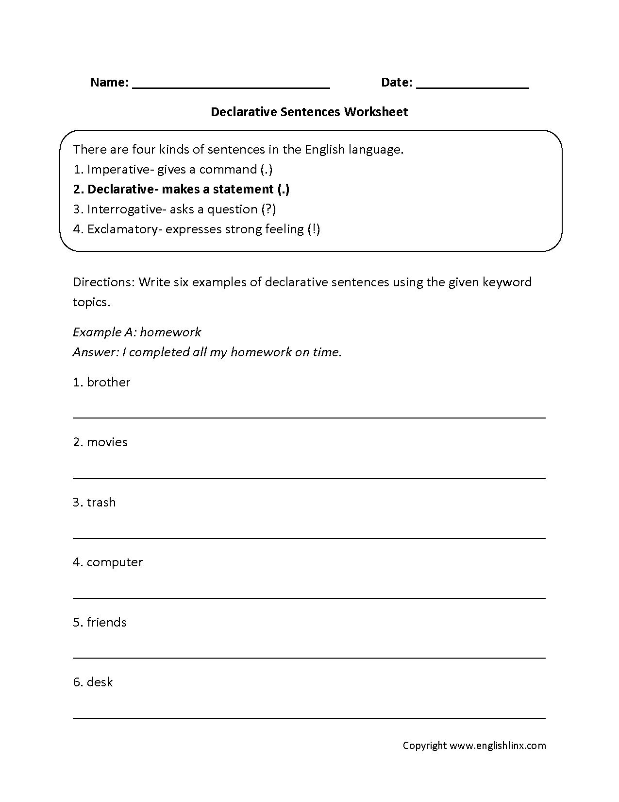 Fragment Worksheet 4th Grade