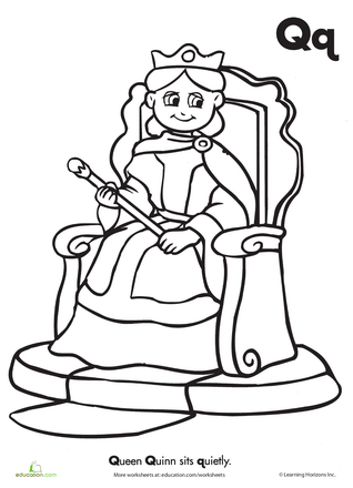 The Letter Q Coloring Page Worksheets, Preschool