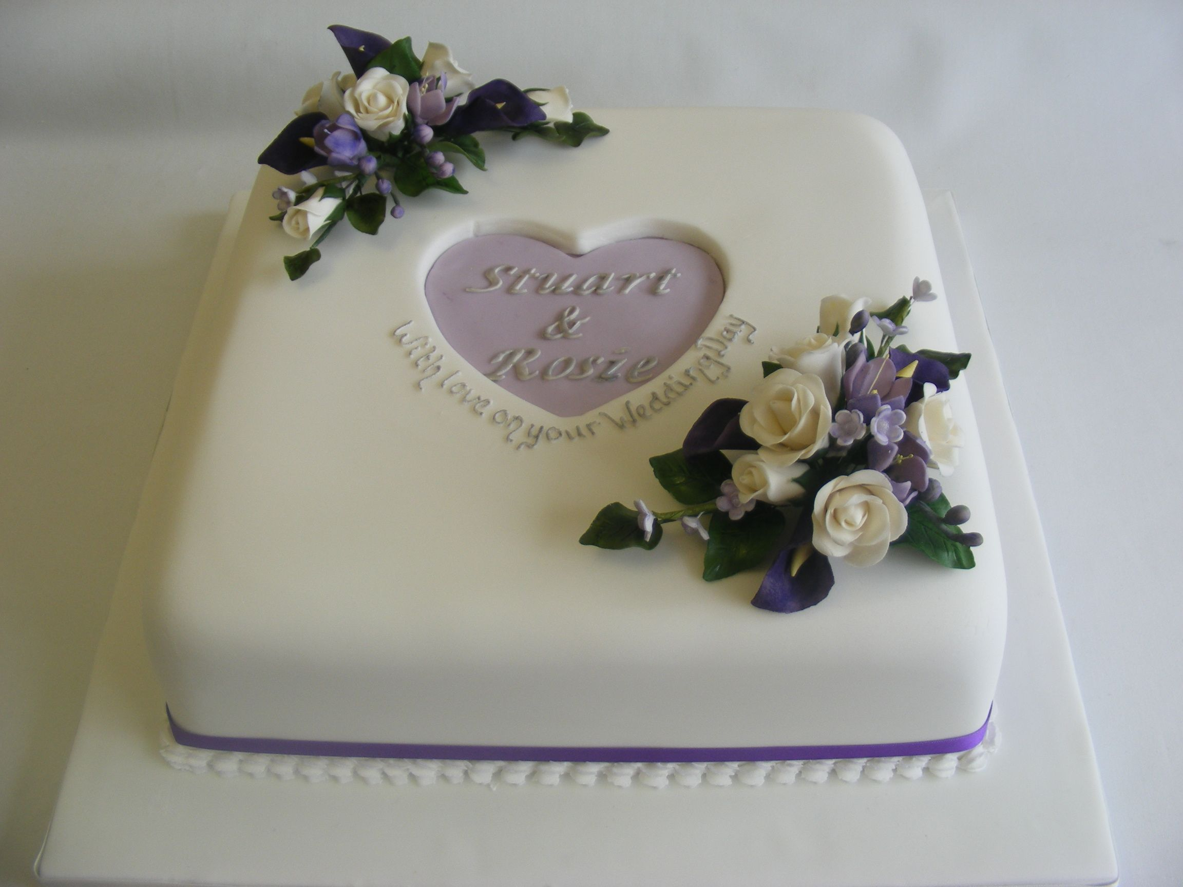 Single Tier Square Cake With Lilac And Purple Detail And