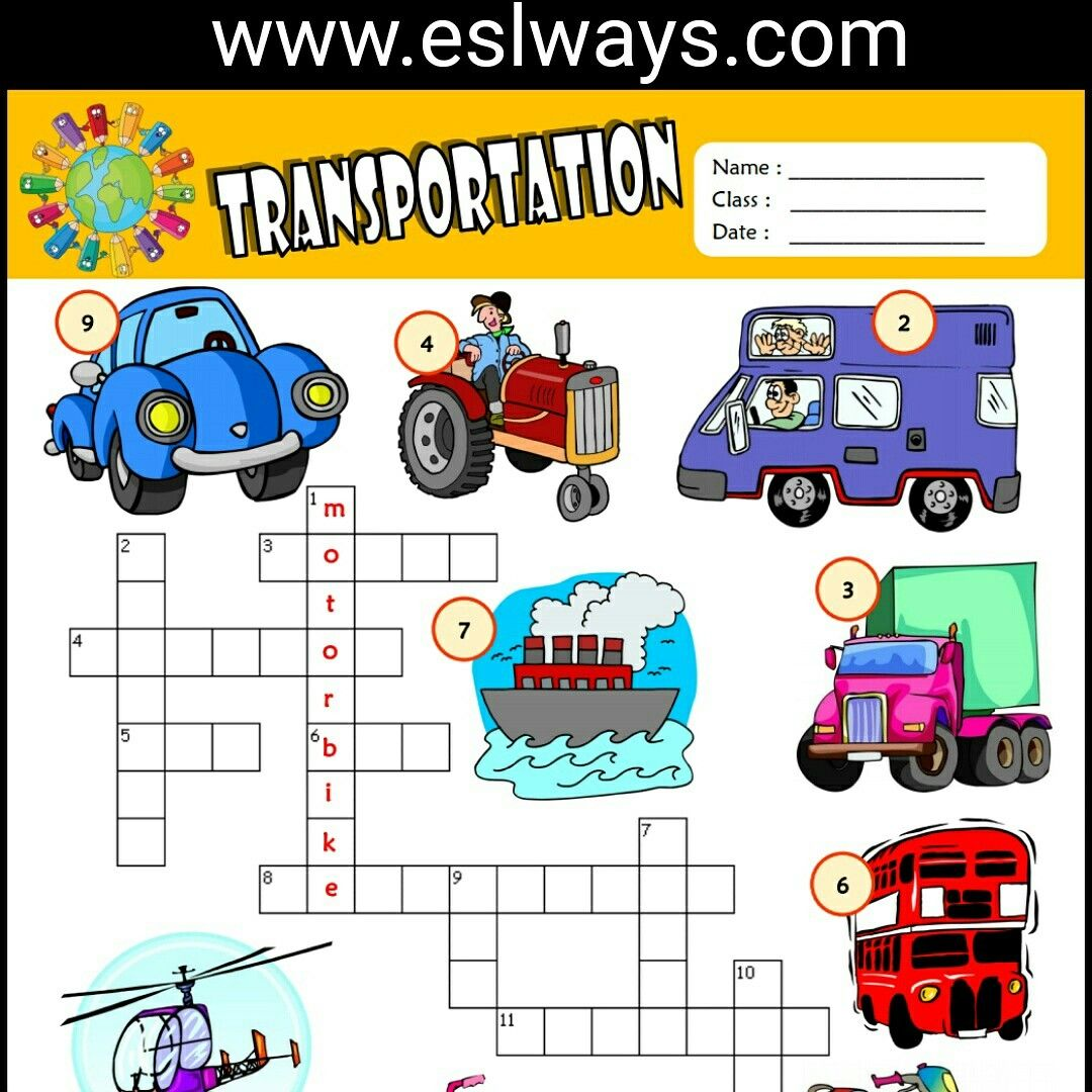 Means Of Transportation Esl Printable Crossword Puzzle For