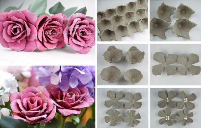 Resultado de imagen para rosas con carton de huevo