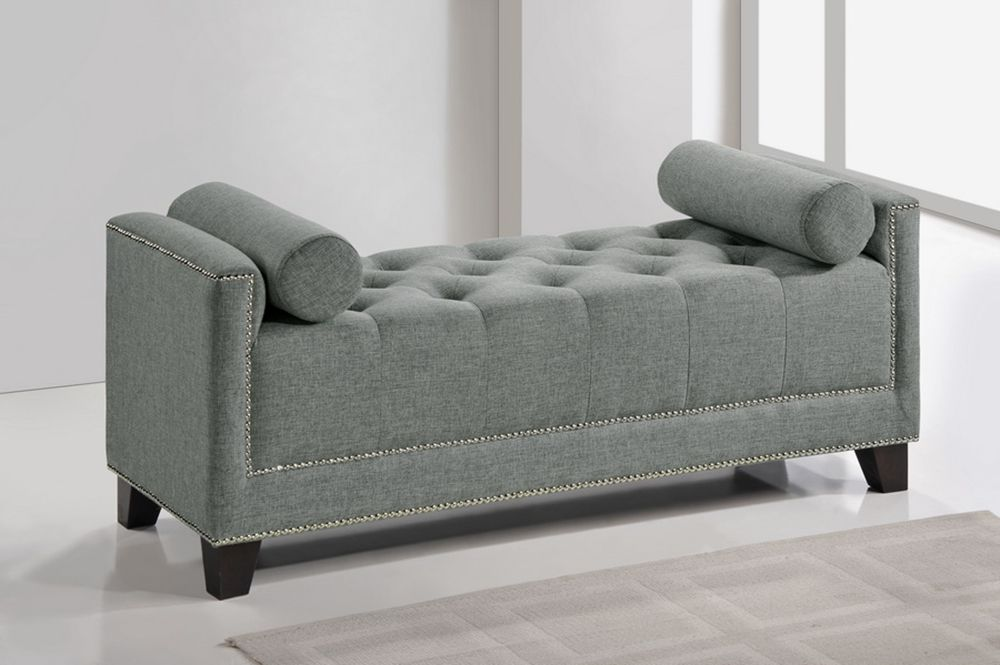 baxton studio hirst gray bedroom bench | affordable modern