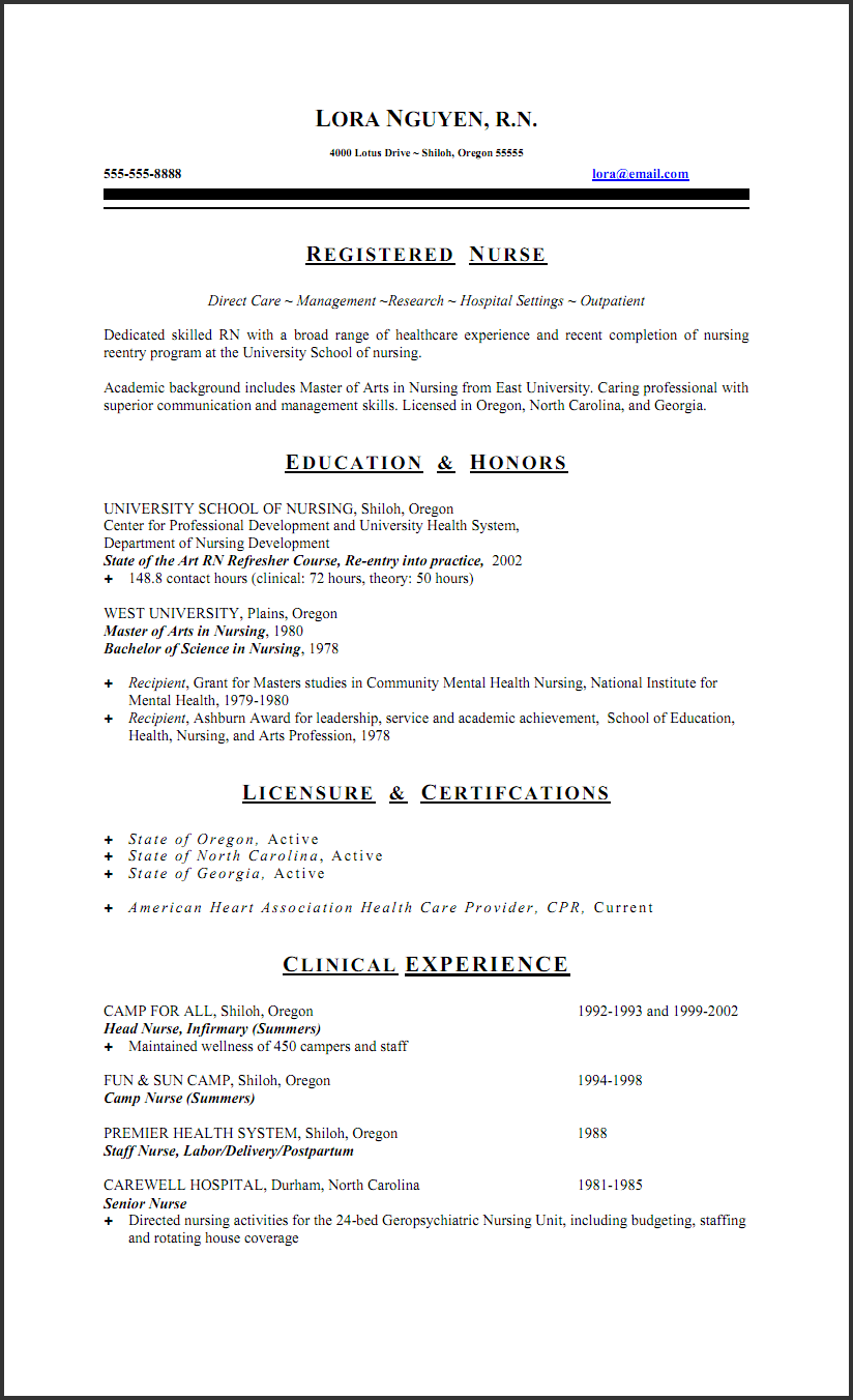 Resumes For Nurses example student nurse resume free sample Professional Resume For Nurses Professional Objective