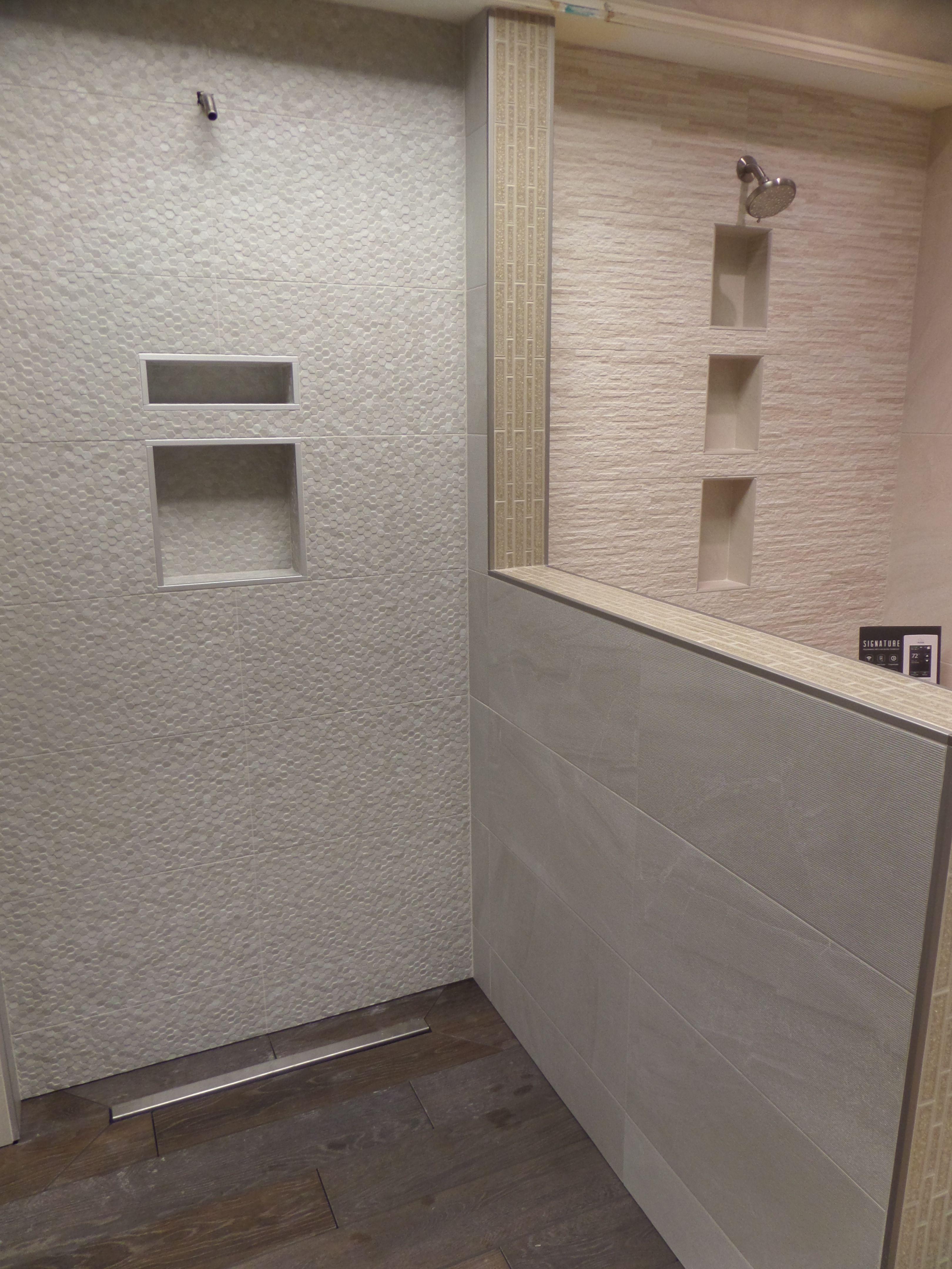 Shower Installation At MidAmericaTile ElkGroveVillage Piemme Purestone Geostone Blanke